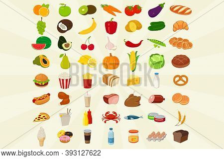 Food Icons Set. Fruits And Vegetables Icons. Fast Food Icons. Modern Flat Design. Vector