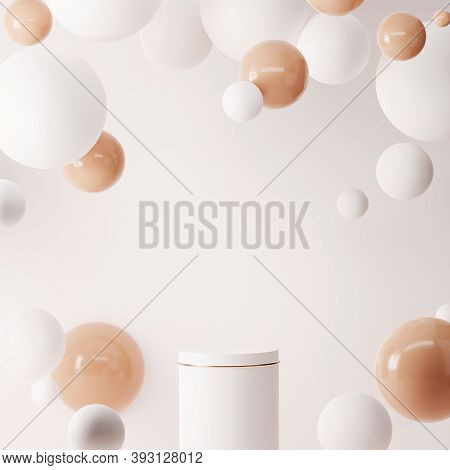 3d Pedestal Podium On White Studio Background. Abstract Beige And White Ball Levitating In Studio.