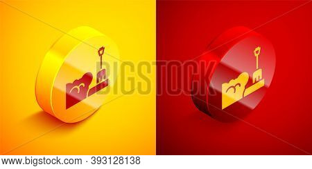 Isometric Shovel In Snowdrift Icon Isolated On Orange And Red Background. Circle Button. Vector