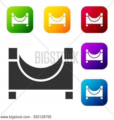 Black Skate Park Icon Isolated On White Background. Set Of Ramp, Roller, Stairs For A Skatepark. Ext