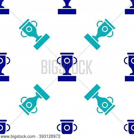Blue Award Cup Icon Isolated Seamless Pattern On White Background. Winner Trophy Symbol. Championshi