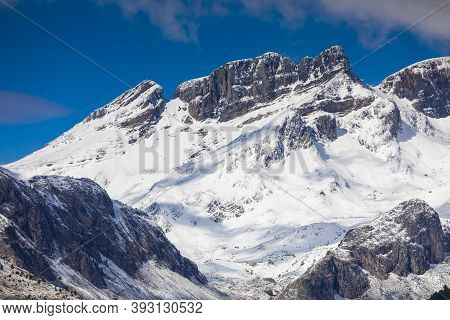 Snowy Mountains Landscape In The Aragonese Pyrenees. Near Of Aguas Tuertas Valley, Hecho And Anso, H
