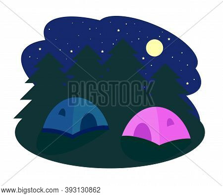 Tourist Tents Against The Background Of The Night Sky. Life In Nature. Vector Illustration.
