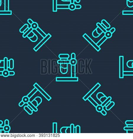 Green Line Glass Test Tube Flask On Stand Icon Isolated Seamless Pattern On Blue Background. Laborat