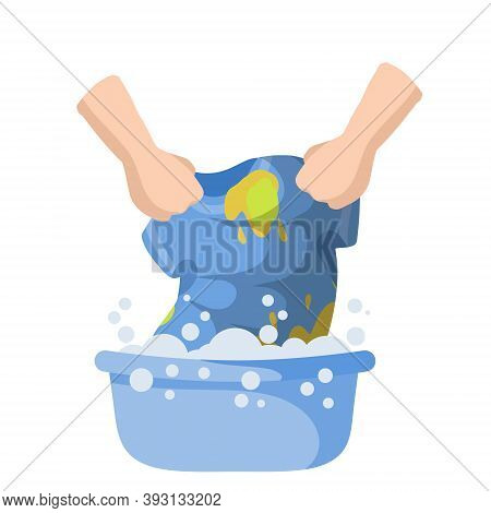 Washing Clothes In Basin Of Soapy Water. Hands Holding T-shirt. Household Chores. Clean And Wash. St
