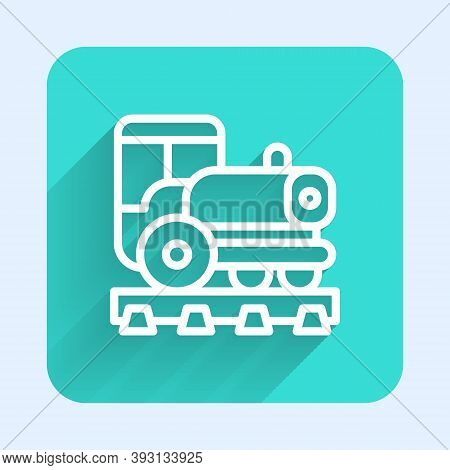 White Line Vintage Locomotive Icon Isolated With Long Shadow. Steam Locomotive. Green Square Button.