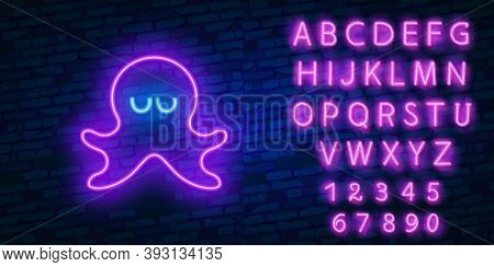 Octopus Neon Light Icon. Swimming Underwater Animal With Tentacles. Seafood Restaurant. Aquatic Inve