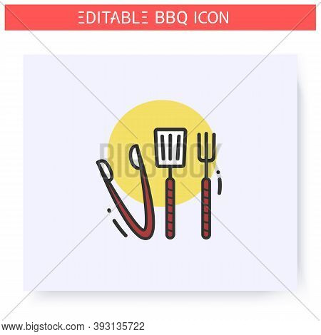 Grill Cooking Utensils Color Icon. Barbecue, Kitchen Tools Set. Backyard Picnic Concept. Barbecue Pa