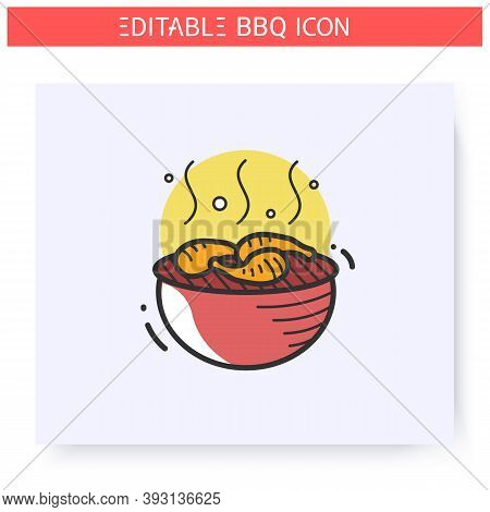 Grilled Shrimps Color Icon.charcoal Barbecue.brazier With Shrimps Or Chicken Drumsticks. Backyard Pi