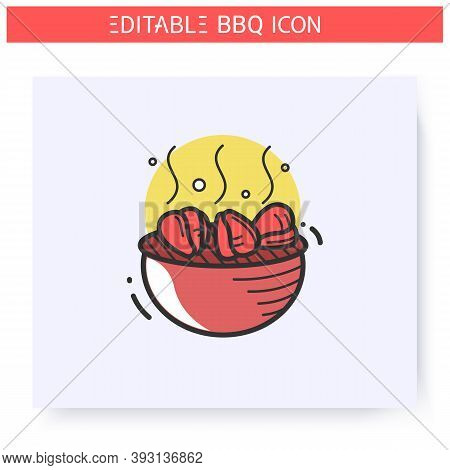 Grilled Chicken Fillet Color Icon.charcoal Barbecue.brazier With Chicken Fillet Or Paprika.backyard
