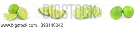 Collection Of Limes Isolated On A White Background Cutout