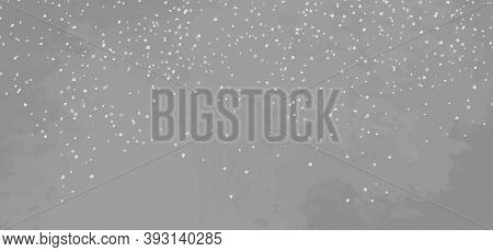 Hand Drawn Background With Snowflakes. Flakes Of Snow. Grunge Style. Christmas Snowy Pattern. Black
