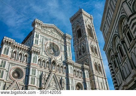Florence, Italy, The Facade Of The Cathedral Of Santa Maria Del Fiore With The Bell Tower By Giotto