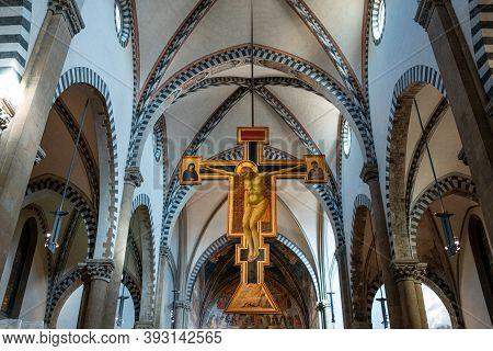 Florence, Italy - February 13, 2019: Main Nave Of The Basilica Of Santa Maria Novella, The Wwoden Cr
