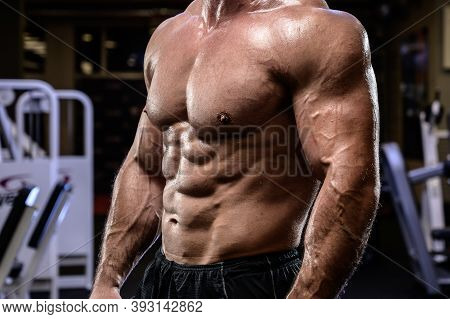 Active Health Fitness Activity Concept Of Young Adult Male Strong Body Physique Oblique Muscle Cover