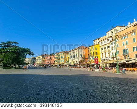 Verona, Italy - September 22, 2014: The Medieval Piazza Bra At The Old Town Of Verona At Italy On Se