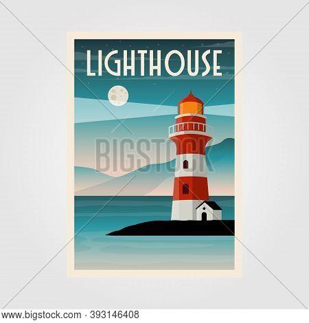Lighthouse Poster Vector Illustration Design, Lighthouse Coastal Line Background Design