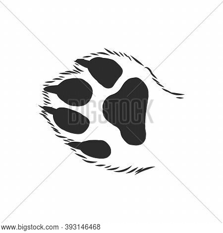 Cats Paw With The Pads Pulled Up Sketch Vector Graphics Black And White Drawing, Cats Paw Vector Ske