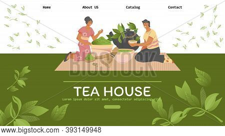 Web Site Template For Teahouse Cafe With People Drinking Tea Vector Illustration.