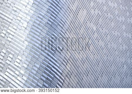 Modern Metal And Glass Modern Background Or Wall Of Architecture Design. Abstract Structure Of Space
