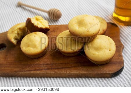 Homemade Cornbread Muffins On A Rustic Wooden Board, Side View. Close-up.