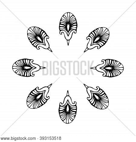 Rose Silhouettes, Spring Buds Vector Characters. Black Rose With Leaf, Nature Flower Roses Illustrat