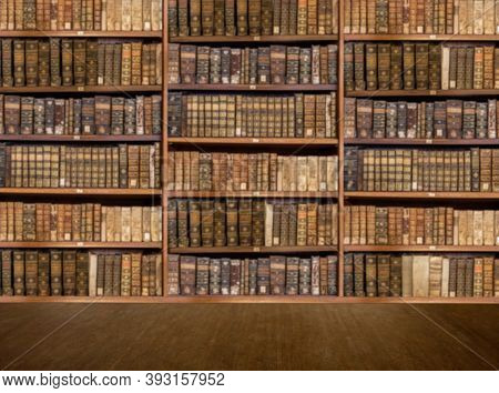 Defocused And Blurred Image Of Old Antique Library Books On Shelves With Wooden Floor For Use In Vid