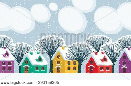 Horizontal Seamless Pattern. Repeatable Winter Landscape With Cute Colored Houses, Snowy Trees And C