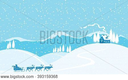 Snowy Winter Landscape With Silhouettes Of Santa Claus In Sledge And A Team Of Reindeer. Vector Back