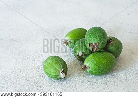 Feijoa, Exotic (tropical) Fruit, Berry Of The Myrtle Family, Grows In The Tropics And Subtropics. Ri