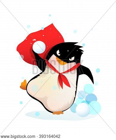Angry Penguin Throwing Snowballs, Aiming And Playing With Snow. Kids And Nursery Winter Joy And Fun