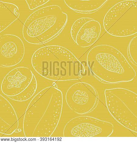 Seamless Pattern Of Whole Papaya And Papaya Half. Vector Cartoon And Sketch Line Background. Hand-dr