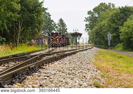 Niechorze, Poland, June 2020 Old Diesel Narrow Gauge Train Departing From Train Station. Popular Tou