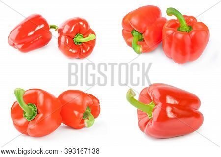 Group Of Bell Peppers Isolated On A White Cutout