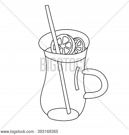 Glass Of Mulled Wine Garnished With Slices Of Orange. Hand Drawn Sketch Doodle Illustration Isolated