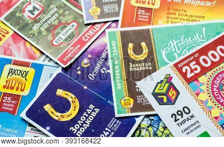 Moscow, Russia, July 2020: Various Russian Lottery Tickets. Russian Lotto.
