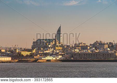 Montevideo, Uruguay- December 18, 2008: City Skyline Along Rambla Francia With Massive Banco De La R