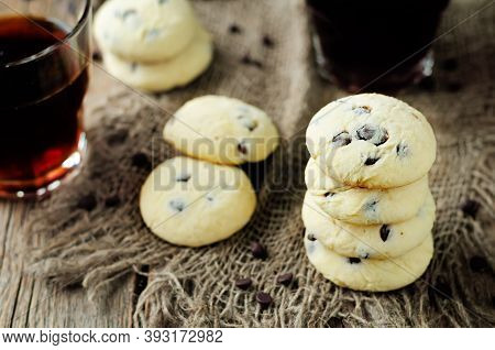 Soft Ricotta Chocolate Drops Cookies In A Plate