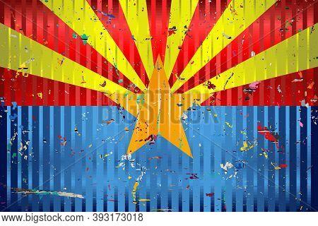 Arizona Flag With Color Stains - Illustration,  Three Dimensional Flag Of Arizona