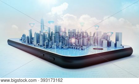 Conceptual 3d Render Of Smart City Hologram On Smartphone Screen. Wifi Icons Connections Between Bui