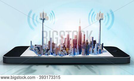 3d Illustration Of Conceptual Smart City On Smartphone Screen. Telecom Antennae With Radio Waves Aga