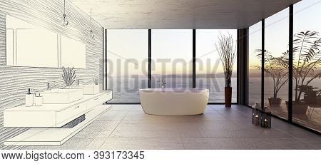 Stylish High Key Bathroom With Sea View. Round Bath Tub With Double Wash Basin And Rough Textured St