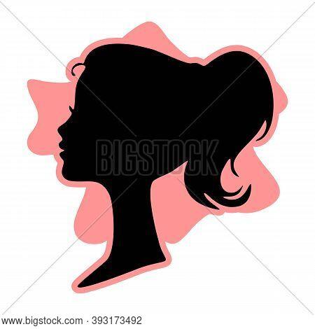 Black Profile Silhouette Of Young Girl Or Woman Head, Face Profile, Vignette. Hand Drawn Vector Illu