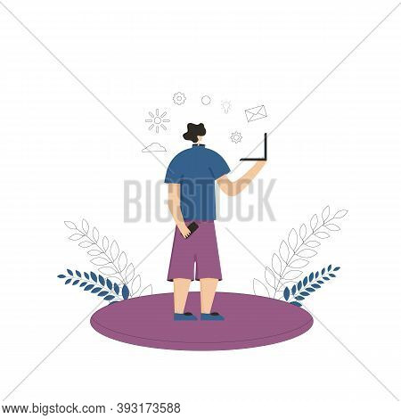 Bleisure Concept. Work Life Balance. Digital Nomad. Vector Flat Person Dressed In Shorts And T-shirt