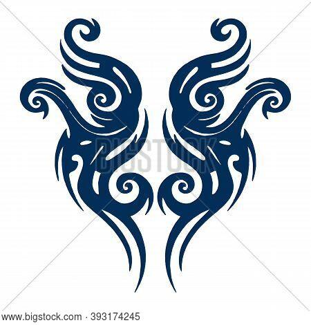Tattoo Tribal Design, Abstract Print, Celtic Pattern, Ornament Sketch, Vector Illustration, Black An