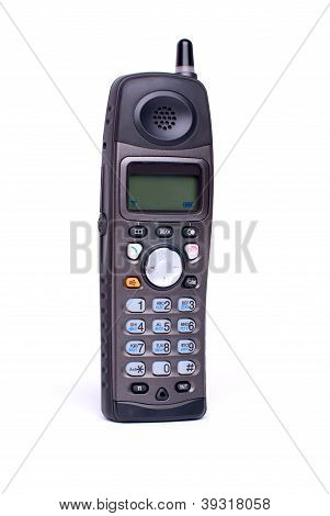 black radio telephone on white background