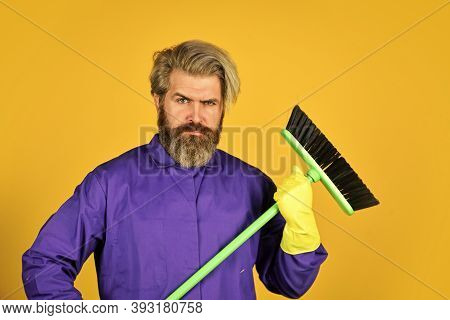 Janitor Man Sweeping. Spring Cleaning. Clean Service People. Mature Male Worker With Broom Cleaning.
