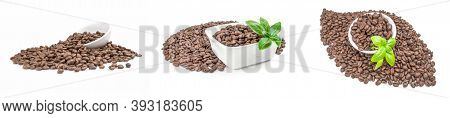 Collage Of Coffee Grains Isolated On A White Background Cutout