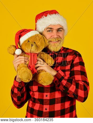 Christmas Memories From Childhood. Bearded Man Celebrate Christmas. Kind Hipster With Teddy Bear. Ch