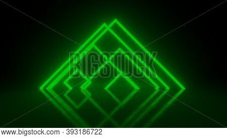 Pyramid Consisting Of Green Abstract Neon Glowing Light Stripes On Black Background. Luminous Lines